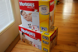 Photo: That's a lot of diapers. One package for me and one package for a new mommy!