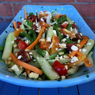 Healthy Green Bean Salad with ALL the Toppings.