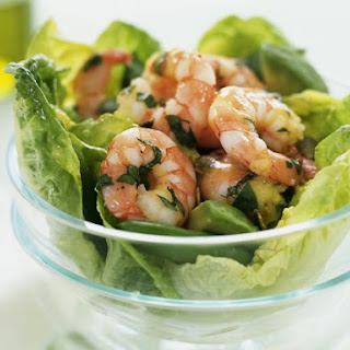 Dressed Prawns with Leaves