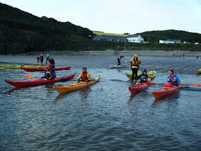 Photo: 2 groups of sea kayaks leaving Nolton Haven before a paddle towards Newgale and then back towards Druidston Haven