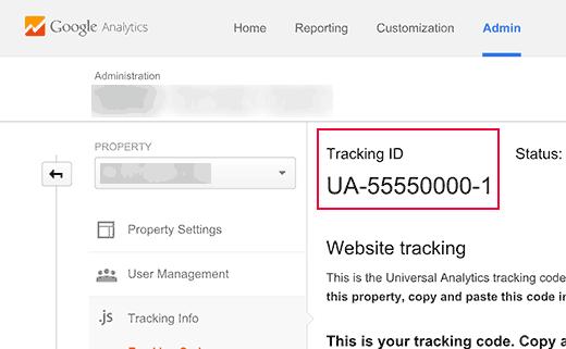UA tracking id in Google Analytics