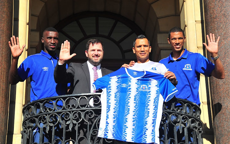 Siyanda Xulu, Councillor Stuart Diamond (Mayoral Committee Member for Assets and Facilities Management) Fadlu Davids (Head Coach) and Bevan Fransman during the Maritzburg United Media Conference at City Hall on May 14, 2018 in Cape Town, South Africa.