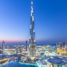 The One And Only ... by Wissam Chehade - Buildings & Architecture Other Exteriors ( skyline, mydubai, tallest tower, cityscape, the one, city, lights, tower, sky, burjkhalifa, dubai mall, blue, dubai, sunset, uae, fountain, buildings, downtown dubai,  )