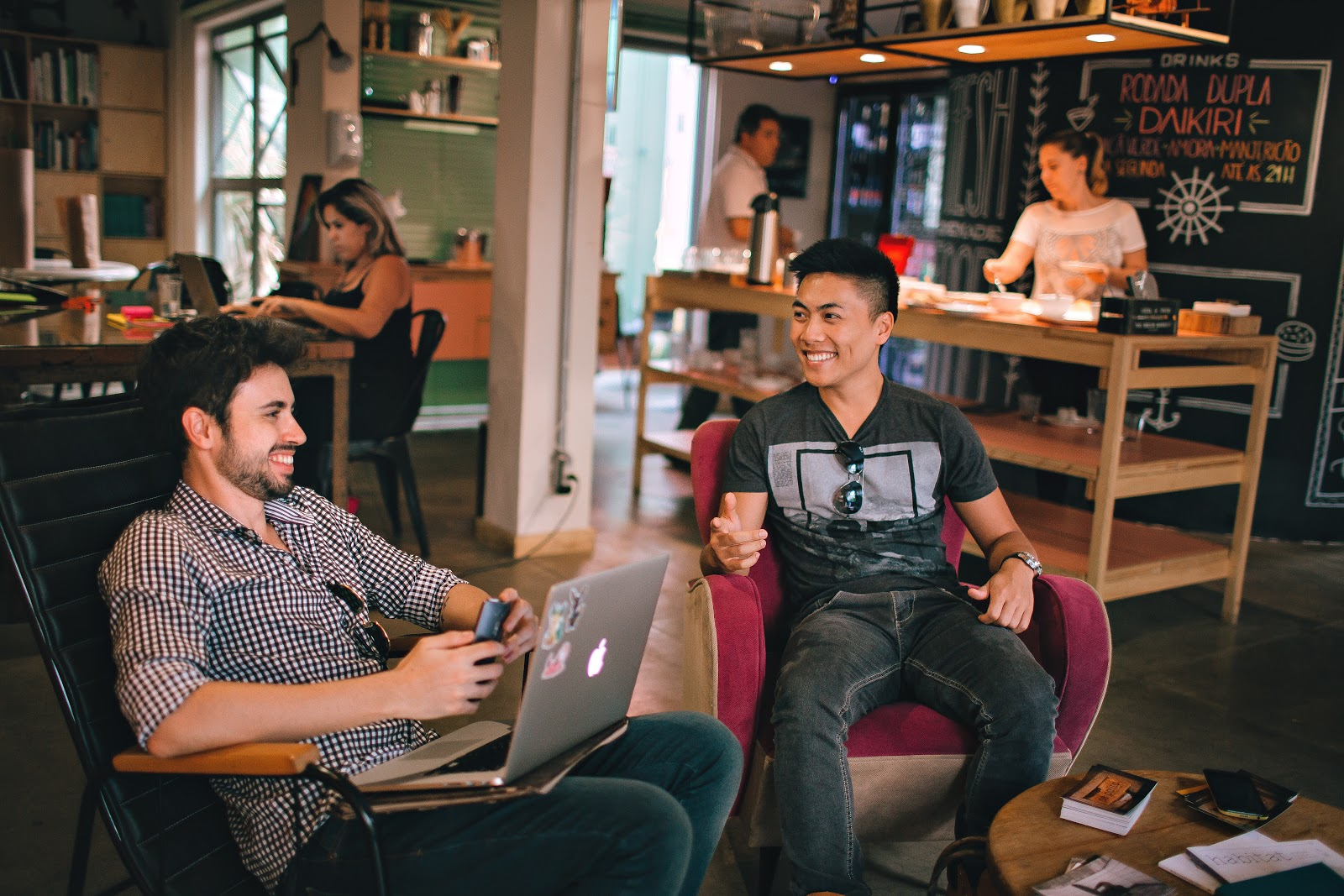 Co-working space with two men hanging out