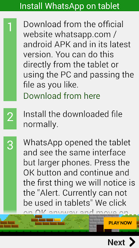 Install WhatsApp on a tablet