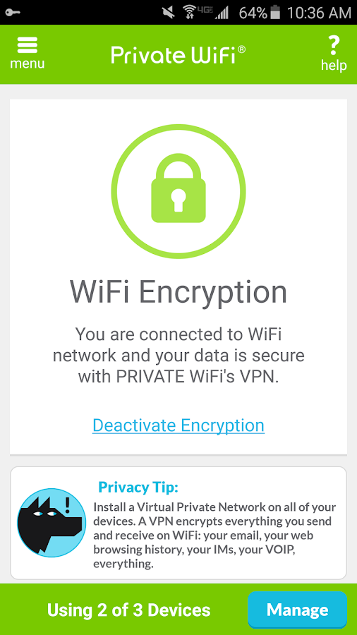 Private WiFi – A Secure VPN- screenshot