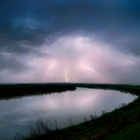 Lightning Never Strikes Twice by Adrian Campfield - Landscapes Weather ( clouds, stormy, water, flash, white, storm, rivers, lightning, sky, blue, dark, weather, light, rain, black,  )