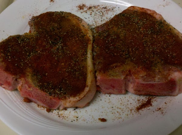 Bring chops to room temperature and dry rub with garlic, onion, paprika, salt and...