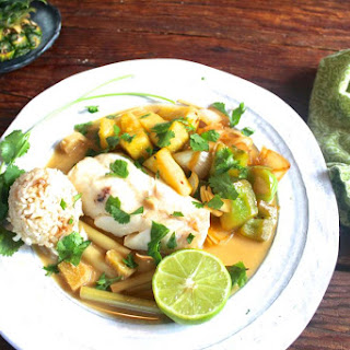 Coconut Milk Poached Cod with Bell Peppers and Pineapple Recipe