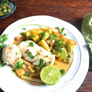 Coconut Milk Poached Cod with Bell Peppers and Pineapple.