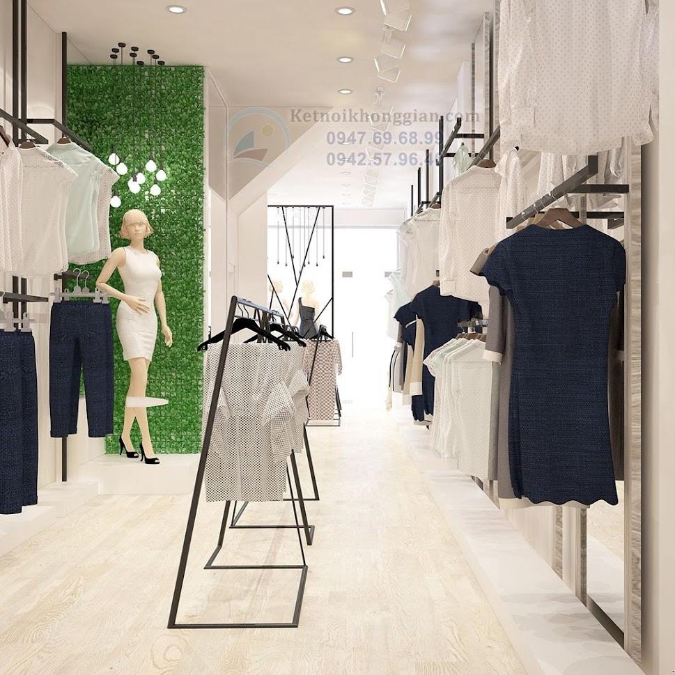 thiết kế shop thời trang công sở với các mảng màu khác nhau