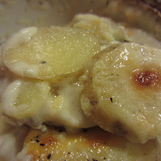 Lightened Up Cheesy Scalloped Potatoes