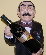 Photo: Day 73 ... My personal waiter holding a Super Bowl XXXII bottle of wine in my family room