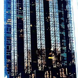 Windows by Edward Gold - Digital Art Things ( digital photography, reflection, yellow lights, tan buildings, blue building, windows, tall office building, office lights, digital art,  )