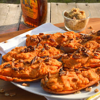 Twice Baked Sweet Potatoes with Maple & Brown Sugar.