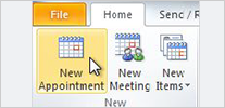 Set an appointment in 2010 version