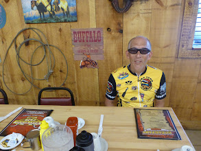 Photo: Len at breakfast at the Oasis Truck stop, 16 miles from the Munger Moss