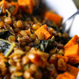 Spicy Lentils with Sweet Potatoes and Kale.