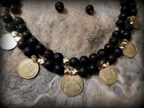 Photo: # 206 PRICELESS CHORNOZEM ~ БЕЗЦІННИЙ ЧОРНОЗЕМ  lava rock, hryvnias (coins of Ukraine), gold plate   $115/set SOLD