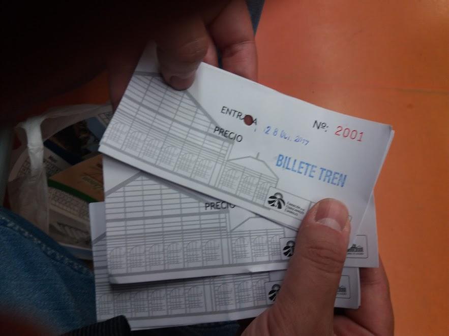Detalle billetes de tren del Museo del Ferrocarril