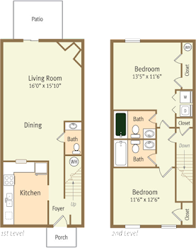Go to Two Bed, 2.5 Bath Townhome WH Floorplan page.