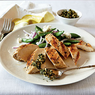 Grilled Chicken with Mint and Pine Nut Gremolata.