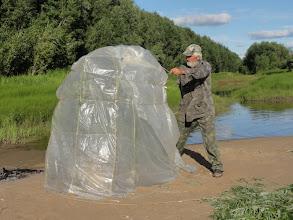 Photo: Так ставится шатер для бани. Все надо делать быстро.