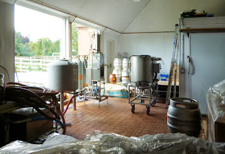 Photo: An overall view of the packaging room with steel firkins and plastic pinsthe machine in the middle can be adapted for keg filling but mostly it fills those bottles, two at a time, with brewery conditioned beer for the supermarket and off-licence trade. It's not such a slow process as you'd imagine but a bit mind-numbing.