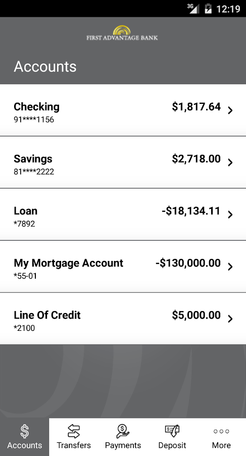 First Advantage Bank Mobile- screenshot
