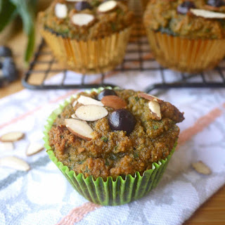 Grain-free Blueberry-Banana Kale Muffins.