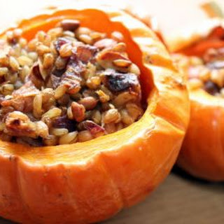 Winter Squash Cups with Wild Rice, Hazelnuts + Cherries Recipe