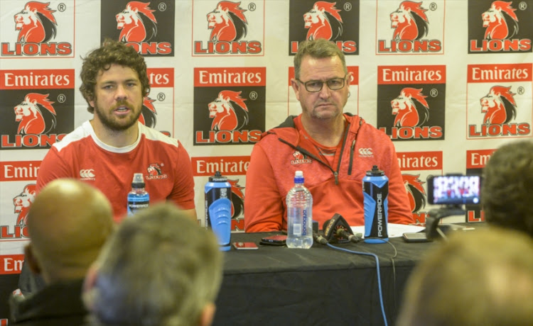 Captain Warren Whiteley of the Lions with Coach Swys de Bruin of the Lions during the Emirates Lions press conference at Emirates Airline Park on July 12, 2018 in Johannesburg, South Africa.