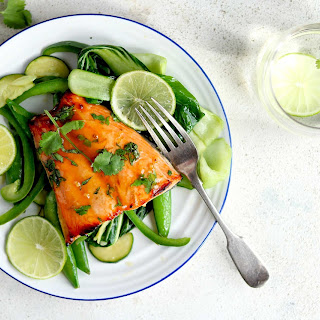 Honey Glazed Salmon with Lime and Coriander.