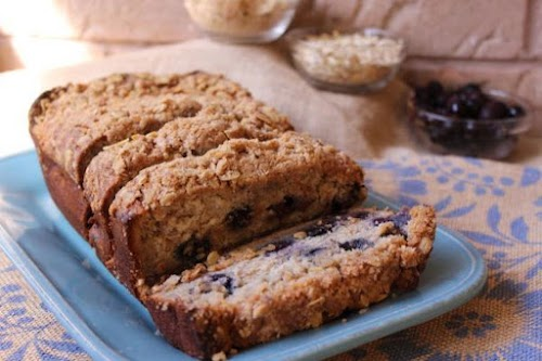 """Blueberry-Banana Streusel Bread """"This banana bread recipe is yummy, moist and full..."""