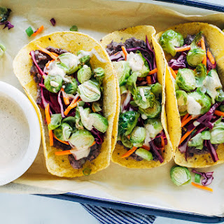 Roasted Brussels Sprout Tacos with Chipotle Aioli.