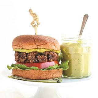 Veggie Black Bean Burgers with Green Tea Basil Aioli