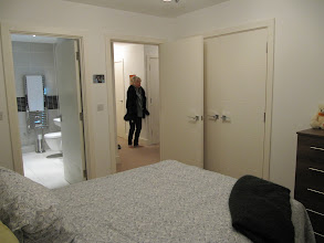 Photo: View from bedroom 1, showing en-suite bathroom and hallway, faculty flat #1