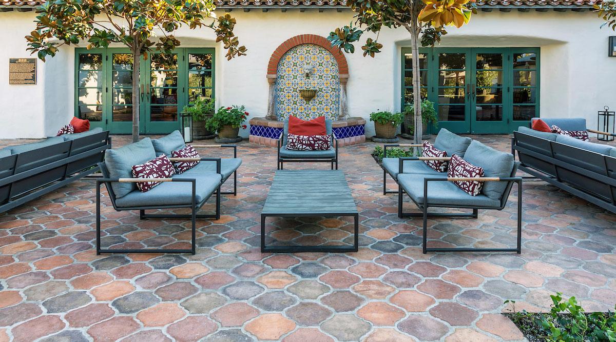 Outdoor area with multicolor arabesque tile flooring
