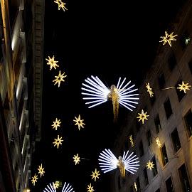Carlton Street's Christmas Spirit by DJ Cockburn - Public Holidays Christmas ( angel, holiday, england, winter, london, decoration, carlton street, electric, art, christmas, night, the christmas spirit, light, britain )