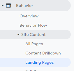Google analytics behaviour section then site content then landing pages to view landing page traffic.