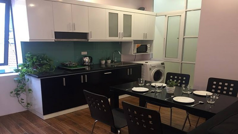 Bright 2 – bedroom apartment with balcony in Van Cao street, Ba Dinh district for rent