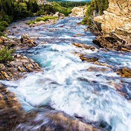 Heading to the Falls by Richard Michael Lingo - Landscapes Waterscapes ( waterscape, waterfall, montana, river, landscape )