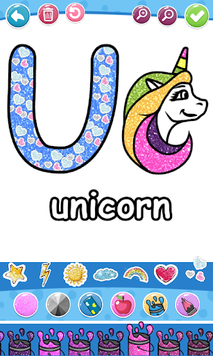 Glitter Number and letters coloring Book for kids screenshot 19