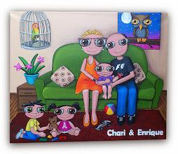 Photo: Lienzo personalizado: familia nenalizada :). 50x40 cm, pintado en acrílico y barnizado. Consultar precios