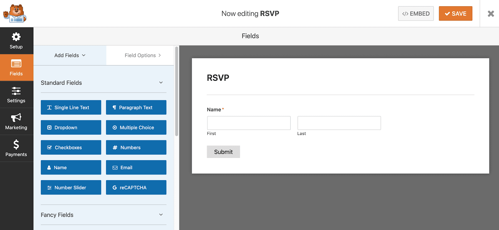 Create and RSVP form in WordPress using WPForms