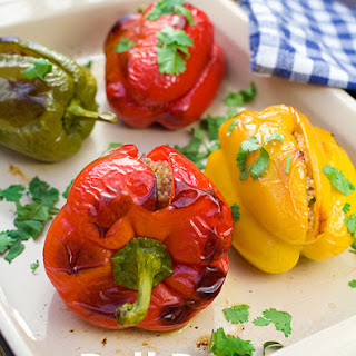 Bell Peppers Stuffed with Couscous, Pine Nuts and Raisins Recipe