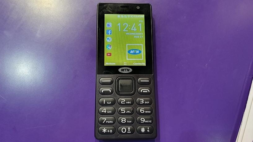 The MTN and KaiOS smart feature phone on display in Barcelona.