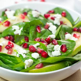 Pomegranate Spinach Salad With Apple Cider Vinaigrette.
