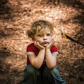 I Don't Want To Be In Nature Anymore  by Jay Huron - Babies & Children Child Portraits ( child, pouting, nature, portrait, kid, environmental )