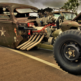 War Vet by Benito Flores Jr - Transportation Automobiles ( army, vet, fighter, temple, car show, texas )